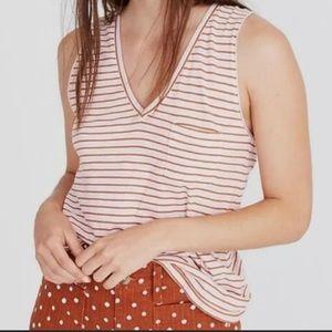 Madewell V Neck Tank Top Stripes Cotton Shirt XS